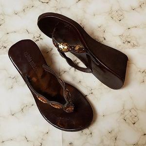 Olivia Miller Brown V Strap Wedge Sandals
